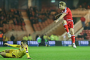 Middlesbrough midfielder Adam Clayton  with a shot  during the Sky Bet Championship match between Middlesbrough and Burnley at the Riverside Stadium, Middlesbrough, England on 15 December 2015. Photo by Simon Davies.