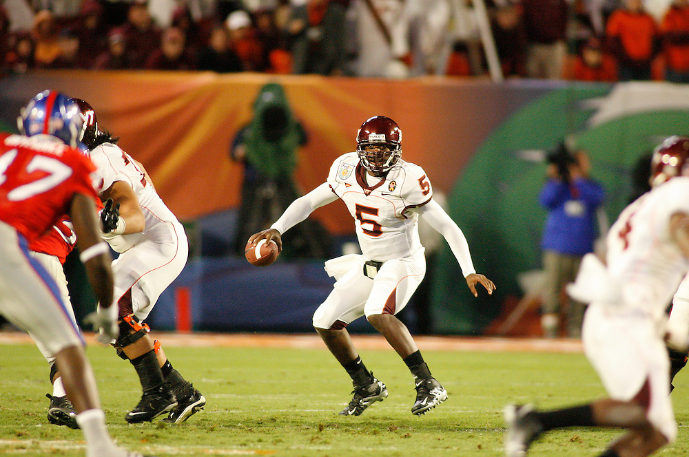 January 3, 2008 - Miami Gardens, FL<br /> <br /> Tyrod Taylor #5 of the Virginia Tech Hokies in action during Kansas' 24-21 victory over Virginia Tech in the 2008 Orange Bowl Classic at Dolphin Stadium in Miami Gardens, Florida.<br /> <br /> JC Ridley/CSM