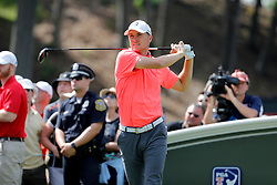 June 22, 2018 - Cromwell, CT, U.S. - CROMWELL, CT - JUNE 22: Jordan Spieth of the United States watches his drive on 18 during the Second Round of the Travelers Championship on June 22, 2018, at TPC River Highlands in Cromwell, Connecticut. (Photo by Fred Kfoury III/Icon Sportswire) (Credit Image: © Fred Kfoury Iii/Icon SMI via ZUMA Press)