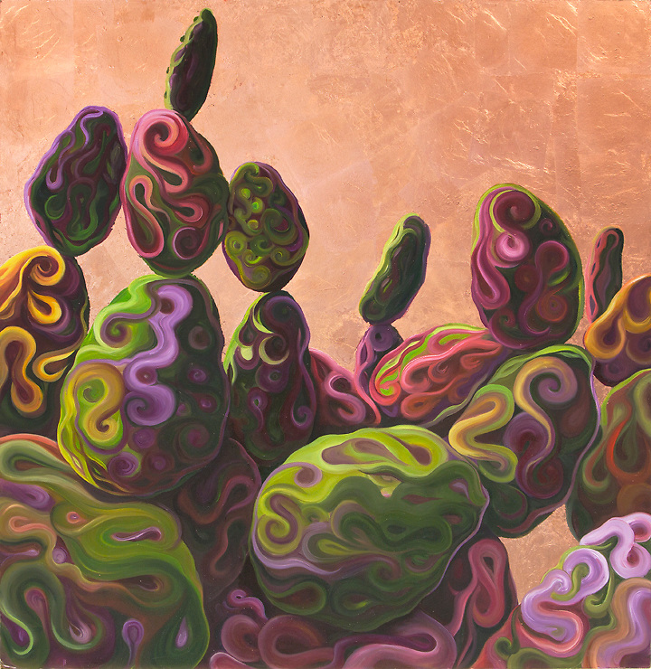 Copper leaf captures the brilliance of a Sonoran desert sunset, and the playful shapes of the prickly pears give a whimsical, abstract feel to this desert scene. <br />