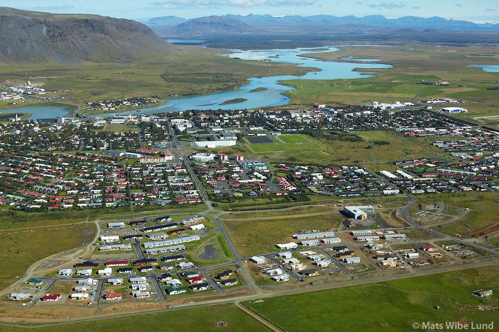 Selfoss til norðurs / Selfoss, viewing north. .Árborg frá 1998 / Arborg since 1998.