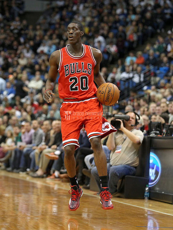 Nov 1, 2014; Minneapolis, MN, USA; Chicago Bulls forward Tony Snell (20) against the Minnesota Timberwolves at Target Center. The Bulls defeated the Timberwolves 106-105. Mandatory Credit: Brace Hemmelgarn-USA TODAY Sports