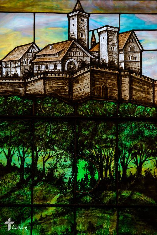 Stained glass depicting Wittenberg, Germany, at Zion Lutheran Church on Thursday, July 13, 2017, in Ottawa, Ill.  LCMS Communications/Erik M. Lunsford