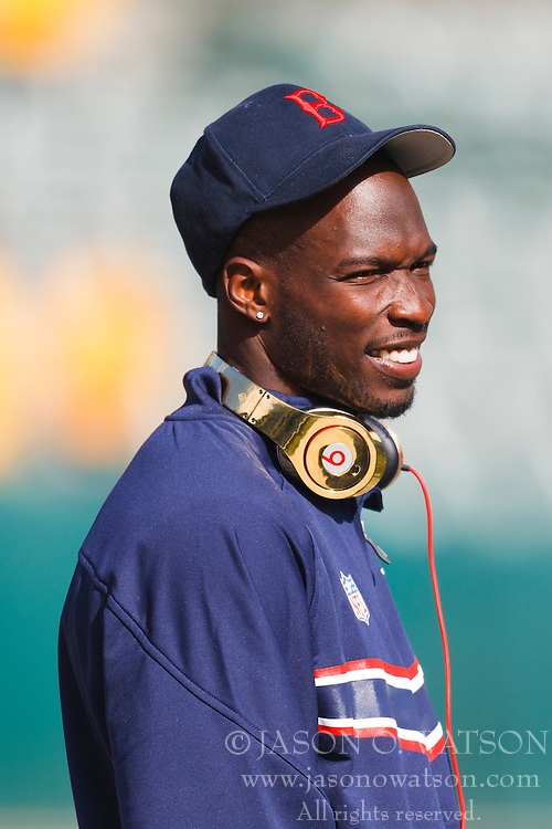 Oct 2, 2011; Oakland, CA, USA; New England Patriots wide receiver Chad Ochocinco (85) warms up before the game against the Oakland Raiders at O.co Coliseum. New England defeated Oakland 31-19. Mandatory Credit: Jason O. Watson-US PRESSWIRE