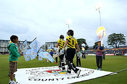 Michael Klinger of Gloucestershire and Hamish Marshall of Gloucestershire walk out to bat for the match against Glamorgan - Mandatory by-line: Robbie Stephenson/JMP - 10/06/2016 - CRICKET - Brightside Ground - Bristol, United Kingdom - Gloucestershire v Glamorgan - NatWest T20 Blast