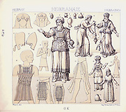 Ancient Hebrew fashion and accessories from Geschichte des kostüms in chronologischer entwicklung (History of the costume in chronological development) by Racinet, A. (Auguste), 1825-1893. and Rosenberg, Adolf, 1850-1906, Volume 1 printed in Berlin in 1888