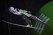 Poland, Wisla Malinka - 2017 November 18: Andreas Wellinger from Germany soars in the air during FIS Ski Jumping World Cup Wisla 2017/2018 - Day 1 at jumping hill of Adam Malysz on November 18, 2017 in Wisla Malinka, Poland.<br /> <br /> Mandatory credit:<br /> Photo by © Adam Nurkiewicz<br /> <br /> Adam Nurkiewicz declares that he has no rights to the image of people at the photographs of his authorship.<br /> <br /> Picture also available in RAW (NEF) or TIFF format on special request.<br /> <br /> Any editorial, commercial or promotional use requires written permission from the author of image.