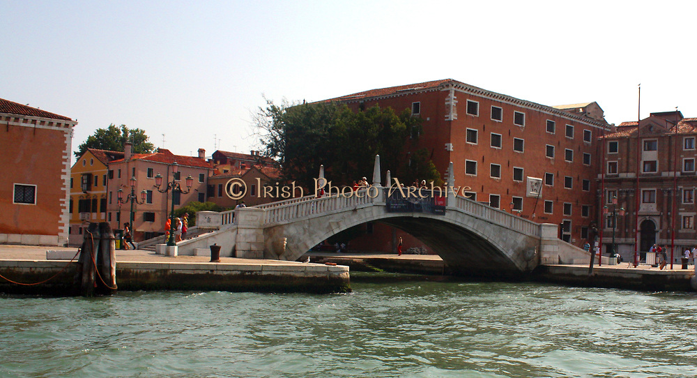 View of  a canal and bridge in Venice, Italy