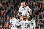 Paul Pogba van Frankrijk scores the1-0, Lanvin Kurrawa celebrates ,Antoine Griezmann celebrates during the FIFA World Cup Qualifier match between Netherlands and France at the Amsterdam Arena, Amsterdam, Netherlands on 10 October 2016. Photo by Gino Outheusden.