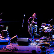 "April 9, 2011 - Manhattan, NY : (from left to right) Laurie Anderson, John Zorn and Lou Reed perform during the Japan Society's 12-hour-long special ""Concert For Japan"" charity event on Saturday.   (This was taken during the 1-2:20pm Gala Block)... CREDIT: Karsten Moran for The New York Times."