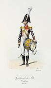Drummer, 1814-1815. 'Histoire de la maison militaire du Roi de 1814 a 1830' by Eugene Titeux, Paris, 1890.
