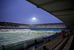 CESENA, ITALY - Tuesday, January 22, 2019: Italy take on Wales on a snow covered pitch during the International Friendly between Italy and Wales at the Stadio Dino Manuzzi. (Pic by David Rawcliffe/Propaganda)