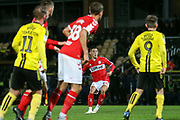 Stephen Walker of Middlesbrough (46) fires in a free kick during the EFL Trophy group stage match between Burton Albion and U21 Middlesbrough at the Pirelli Stadium, Burton upon Trent, England on 7 November 2018.