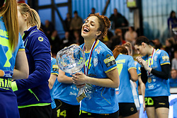 Lamprini Tsakalou of RK Krim Mercator celebrates with trophy and medal after handball match between RK Zagorje and RK Krim Mercator in Final game of Slovenian Women Handball Cup 2017/18, on April 1, 2018 in Park Kodeljevo, Ljubljana, Slovenia. Photo by Matic Klansek Velej / Sportida