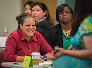 Lysette Cooper listens to the discussion during the New and Emerging Leaders Institute, July 15, 2014.