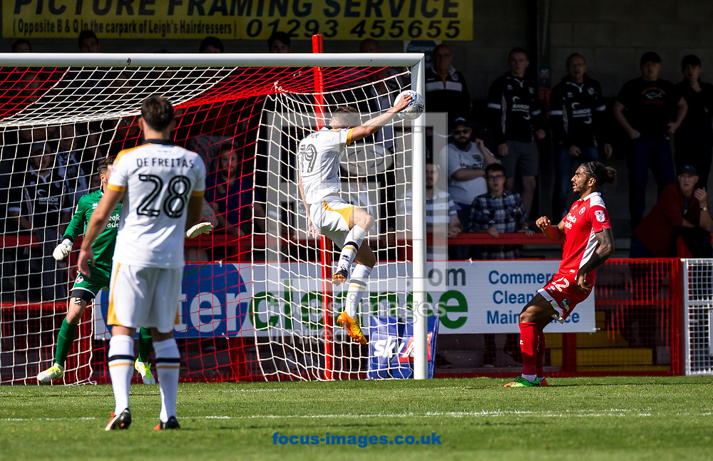 Daniel Turner of Port Vale heads in the 3rd goal during the Sky Bet League 2 match at  Checkatrade.com Stadium, Crawley<br /> Picture by Liam McAvoy/Focus Images Ltd 07413 543156<br /> 05/08/2017