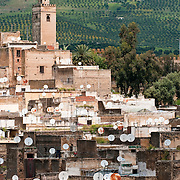View of the medina in Fes with satellite dishes