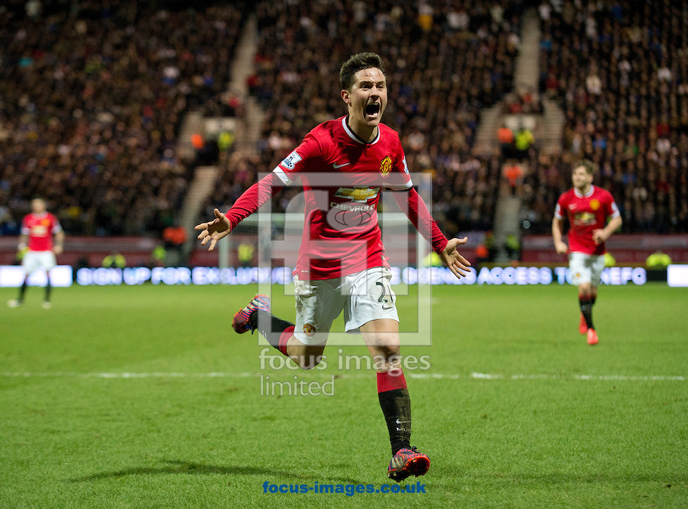 Ander Herrera of Manchester United celebrates after scoring his team's equalising goal to make it 1-1 during the FA Cup match at Deepdale, Preston<br /> Picture by Russell Hart/Focus Images Ltd 07791 688 420<br /> 16/02/2015