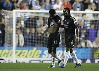 Photo: Lee Earle.<br /> Reading v Chelsea. The Barclays Premiership. 14/10/2006. Chelsea's John Obi Mikel (L) is led away by Didier Drogba after his sending off.