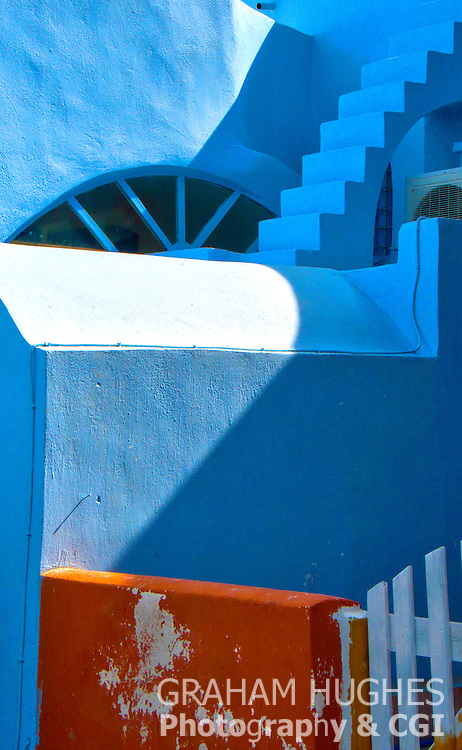 Blue house walls in Santorini, Greece.