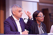 Sadia Khan addresses the first Knife Crime Summit <br /> London 2016 <br /> MOPAC <br /> at Friend's Meeting House, London, Great Britain <br /> 13th October 2016 <br /> <br /> Sadiq Khan <br /> Mayor of London <br /> <br /> <br /> Yvonne Lawson - founder of Godwin Lawson Foundation <br /> whose son was killed in a knife attack in Stamford Hill in March 2010. <br /> <br /> <br /> <br /> Photograph by Elliott Franks <br /> Image licensed to Elliott Franks Photography Services