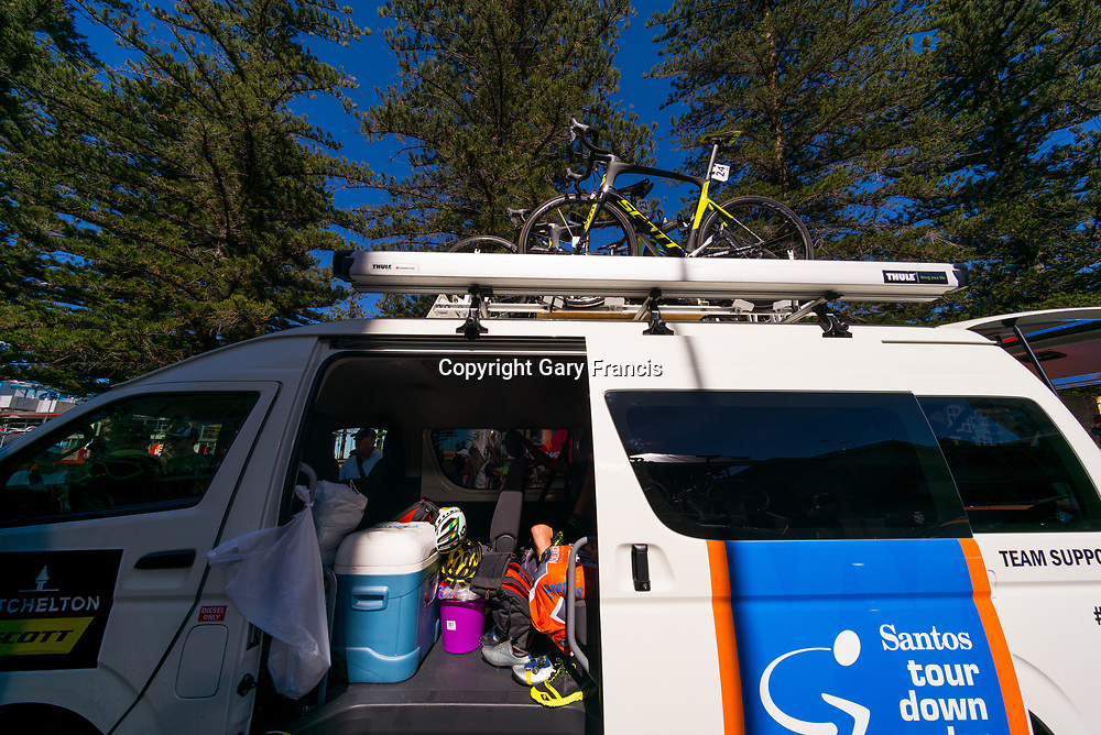 Mitchelton Scott team bus at the start of Stage 3, Glenelg to Victor Harbor, of the Tour Down Under, Australia on the 18 of January 2018 ( Credit Image: © Gary Francis / ZUMA WIRE SERVICE )