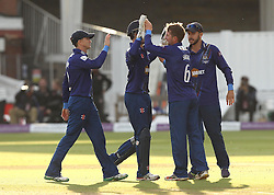 Gloucestershire's Tom Smith celebrates the wicket of Azhar Mahmood - Mandatory byline: Robbie Stephenson/JMP - 07966 386802 - 19/09/2015 - Cricket - Lord's Cricket Ground - London, England - Gloucestershire CCC v Surrey CCC - Royal London One-Day Cup Final