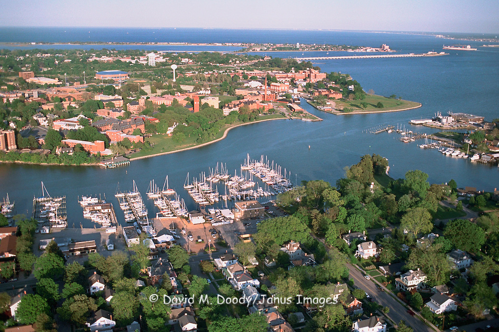 Aerial view from downtown Hampton to Old Point Comfort, site of Fort Monroe, Hampton Roads/Newport News Virginia.  This site is at the mouth of the Chesapeake Bay and James River. Hampton University is at center across from marina.