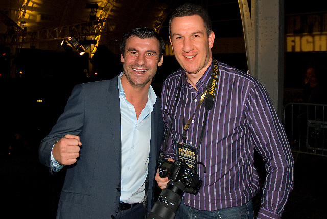 Joe Calzaghe and Leigh Dawney (photographer) at London Olympia -  Prizefighter Light Welterweights 4th December 2009 Credit: © Leigh Dawney Photography