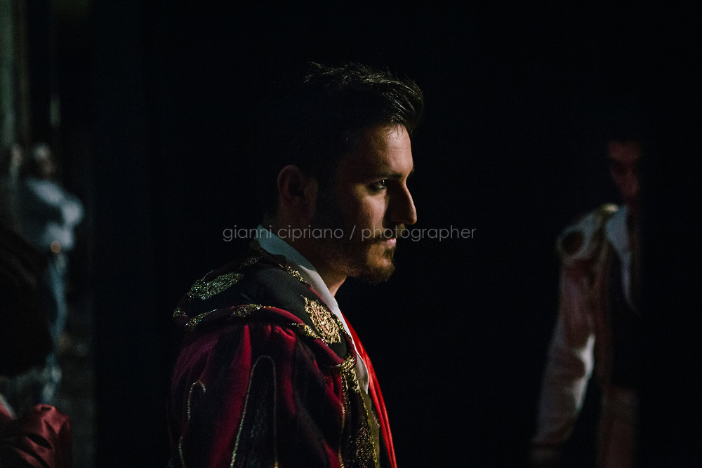 PALERMO, ITALY - 18 FEBRUARY 2018: Dancer Manuel Barzon is seen here backstage during the dress rehearsal of &quot;Don Quixote&quot; at the Teatro Massimo in Palermo, Italy, on February 18th 2018.<br /> <br /> The Teatro Massimo Vittorio Emanuele is an opera house and opera company located  in Palermo, Sicily. It was dedicated to King Victor Emanuel II. It is the biggest in Italy, and one of the largest of Europe (the third after the Op&eacute;ra National de Paris and the K. K. Hof-Opernhaus in Vienna), renowned for its perfect acoustics. It was inaugurated in 1897.