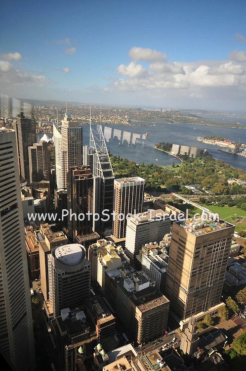 Australia, New South Wales, Sydney. Cityscape as seen from the observation deck of Sydney Tower, AKA Centrepoint Tower and AMP Tower.