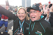 # 20, Mitch EVANS, NZL, Panasonic Jaguar Racing , Jaguar, I-Type III<br /> Race winner in Rome, Here Mother Tracy and the father, Podium celebration.<br /> ROME, ITALY, 13. April 2019, Formula E, ROME, ROMA, ROM, Formula Electric, the Formula Electric Race in the streets of Rome -  fee liable image - Photo Credit: &copy; ATP / Arthur THILL