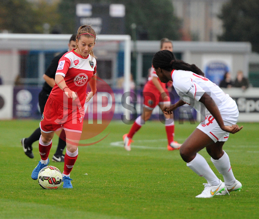 Christie Murray of Bristol Academy Women faces Satara Murray of Liverpool Ladies - Mandatory by-line: Paul Knight/JMP - Mobile: 07966 386802 - 04/10/2015 -  FOOTBALL - Stoke Gifford Stadium - Bristol, England -  Bristol Academy Women v Liverpool Ladies FC - FA Women's Super League