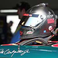 Sprint Cup Series driver Dale Earnhardt Jrs  helmet sits  in the garage at the Daytona International Speedway on February 18, 2011 in Daytona Beach, Florida. (AP Photo/Alex Menendez)