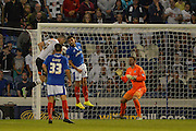 Jason Shackell scores for derby during the Capital One Cup match between Portsmouth and Derby County at Fratton Park, Portsmouth, England on 12 August 2015. Photo by Adam Rivers.