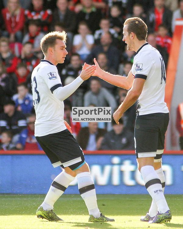 Christian Eriksen and Harry Kane celebrate after the latters goal During Bournemouth vs Tottenham Hotspur on Sunday 25th of October 2015.