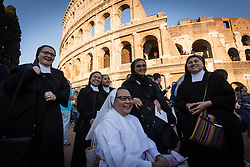 April 14, 2017 - Rome, Italy, Italy - Security checks of the faithful before the Colosseum where the Pope celebrates mass of the Crucis. (Credit Image: © Andrea Ronchini/Pacific Press via ZUMA Wire)