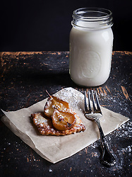 Pastry Tart with Pears and Jar with Milk