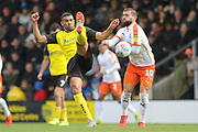 Luton Town forward Elliot Lee blocks the ball with his arm  during the EFL Sky Bet League 1 match between Burton Albion and Luton Town at the Pirelli Stadium, Burton upon Trent, England on 27 April 2019.