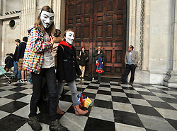 © Licensed to London News Pictures. 26/10/2011. London, UK. Children have joined the protest as it is schools half term holiday. Occupy London protesters outside St Paul's Cathedral today, 26 October 2011. The UK's most popular Cathedral still has its doors closed over health and safety fears for it's visitors. Photo: Stephen Simpson/LNP