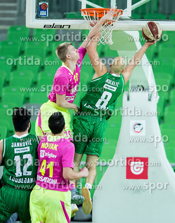 Ognjen Jaramaz of Mega Leks vs Mirko Mulalic #8 of KK Union Olimpija during basketball match between KK Union Olimpija Ljubljana and KK mega Leks in 14th Round of ABA League 2016/17, on December 18, 2016 in Arena Stozice, Ljubljana, Slovenia. Photo by Vid Ponikvar / Sportida