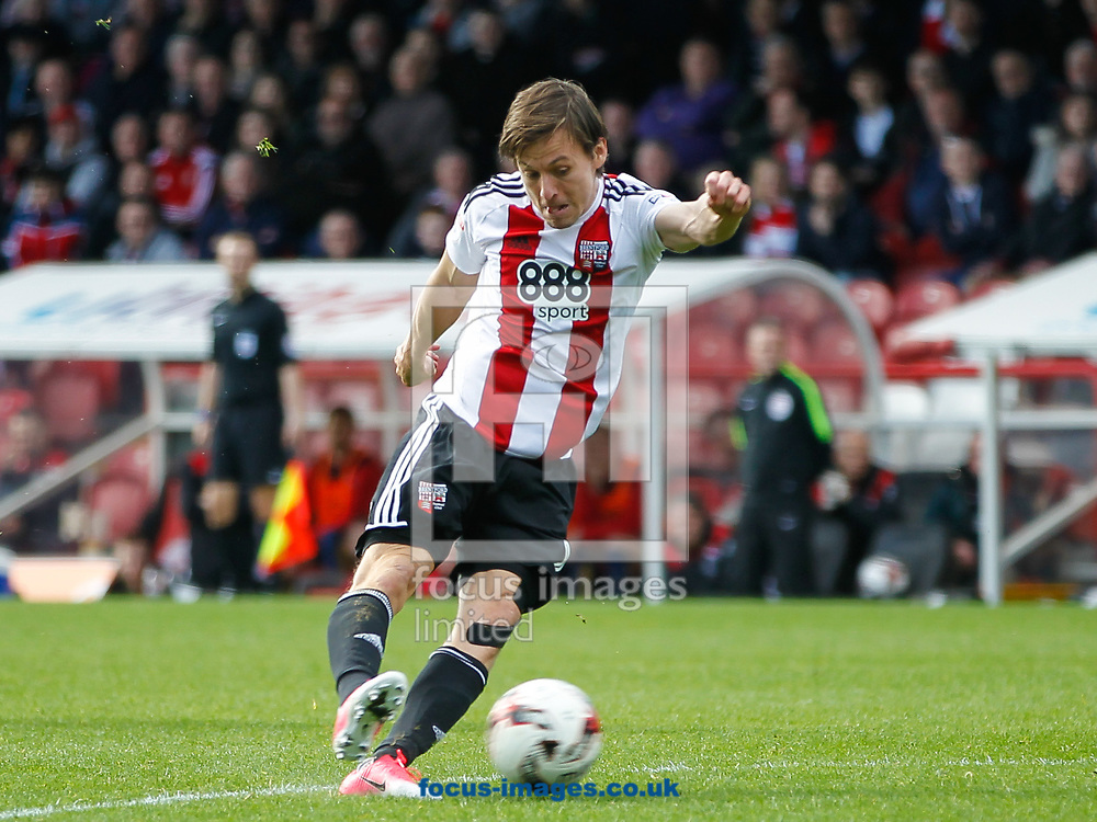 Lasse Vibe of Brentford during the Sky Bet Championship match between Brentford and Bristol City at Griffin Park, London<br /> Picture by Mark D Fuller/Focus Images Ltd +44 7774 216216<br /> 01/04/2017