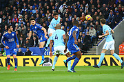 Leicester City defender Harry Maguire (15) heads towards goal during the Premier League match between Leicester City and Manchester City at the King Power Stadium, Leicester, England on 18 November 2017. Photo by John Potts.
