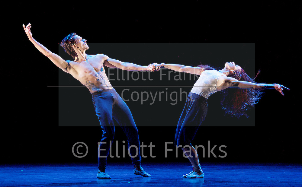 Natalia Osipova <br /> Triple Bill <br /> at Sadler's Wells, London, Great Britain <br /> rehearsal <br /> 28th June 2016 <br /> <br /> <br /> Silent Echo <br /> by Russell Maliphant <br /> Natalia Osipova <br /> Sergei Polunin <br /> <br /> <br /> <br /> Photograph by Elliott Franks <br /> Image licensed to Elliott Franks Photography Services