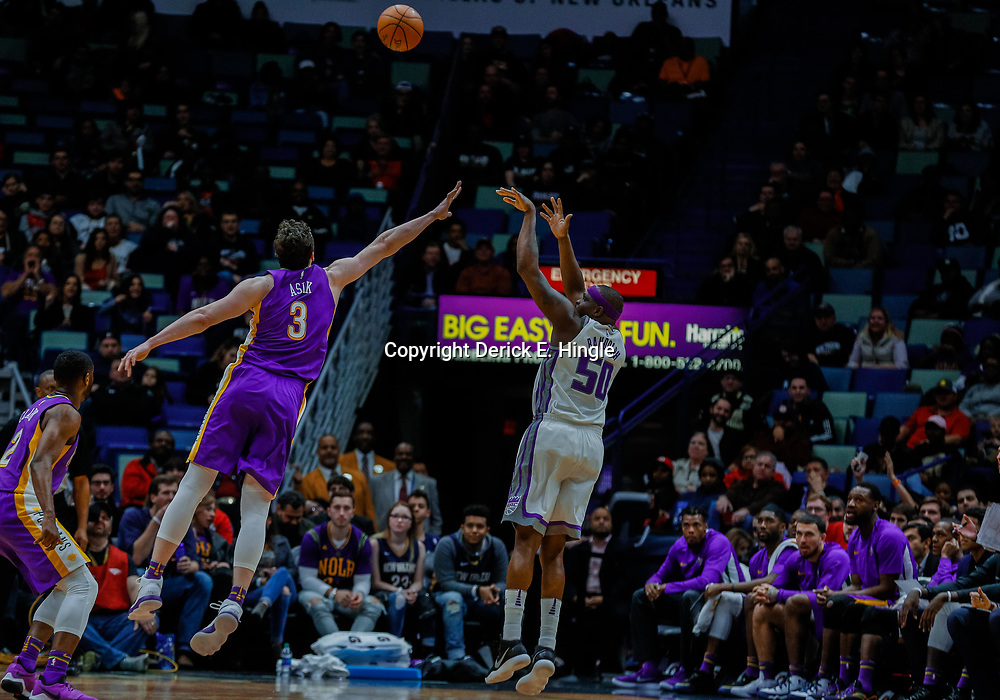 Jan 30, 2018; New Orleans, LA, USA; Sacramento Kings forward Zach Randolph (50) shoots over New Orleans Pelicans center Omer Asik (3) during the fourth quarter at the Smoothie King Center. The Kings defeated the Pelicans 114-103. Mandatory Credit: Derick E. Hingle-USA TODAY Sports