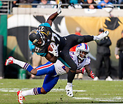 during the second half of an NFL wild-card playoff football game, Sunday, Jan. 7, 2018, in Jacksonville, Fla. Jaguars beat the Bills 10-3. (AP Photo/Stephen B. Morton)