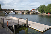 Henley on Thames, United Kingdom. 2016 Henley Masters' Regatta. Henley Reach. England. on Saturday  09/07/2016   [Mandatory Credit/ Peter SPURRIER/Intersport Images]<br /> <br /> Henley Bridge and the Leander Club pontoon. Rowing, Henley Reach, Henley Masters' Regatta.