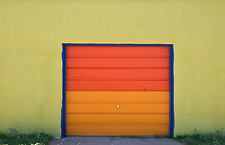 Colorfully painted garage door in New Mexico