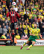 Philip Billing (29) of AFC Bournemouth leaps high above Moritz Leitner (10) of Norwich City to head the ball during the Premier League match between Bournemouth and Norwich City at the Vitality Stadium, Bournemouth, England on 19 October 2019.