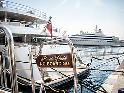 September 24, 2016 - Monaco, Monaco - Superyacht 'Sky Fall'' (58m) pictured in Port Hercules for the 26th Monaco Yacht Show with some 125 of the most desirable superyachts from around the world on display between 28 September and 1 October. The Monaco Yacht Show is held in Port Hercules, and is Europe's biggest in-water display of superyachts. (Credit Image: © Hugh Peterswald/Pacific Press via ZUMA Wire)